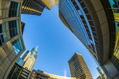 Perspective of skyscrapers in Frankfurt Stock Photos