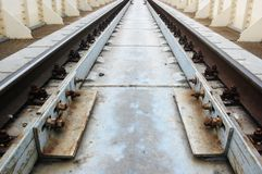 Perspective , sleepers and rails railroad Royalty Free Stock Images