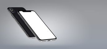 IPhone X. Perspective smartphone mockup front and back sides hovering in the air banner with copyspace. IPhone X. Perspective smartphone mockup banner with Royalty Free Stock Photos