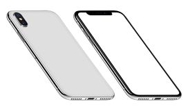 White perspective similar to iPhone X smartphone mockup front and back sides CCW rotated. Perspective similar to iPhone X smartphones mockup front and back side royalty free stock photography