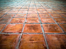 Perspective of Square red tiles Stock Images