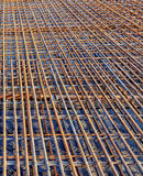 Perspective of Steel Rebar at the construction site Stock Images