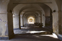 Perspective of stone vaults in old Italian sanctuary Royalty Free Stock Photo