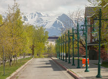 Perspective of street lights, Alaska Mountain Royalty Free Stock Photos