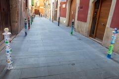 Perspective street view of Spanish Tarragona city Stock Photo