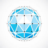 Perspective technology shape with black lines and dots connected. Polygonal wireframe object. Abstract faceted element isolated on white for use as design vector illustration