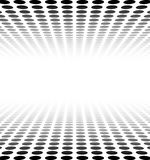 Perspective textured surface. Perspective black and white grid. Surface with circles. Vector illustration Stock Photography