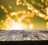 Perspective textured of  top old wood table with beautiful blur Stock Images