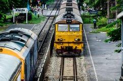 Perspective of Thai Red Sprinter train, Diesel locomotive. Stock Photo