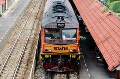 Perspective of Thai train. Stock Photo