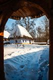Fairytale cottage in winter at the Village Museum in Bucharest Stock Images