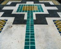 Perspective tiles floor. Perspective of color tiles concrete floor Stock Images