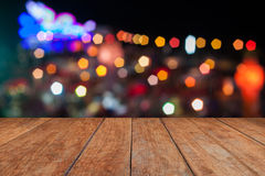 Perspective top wooden with abstract blurred lights Stock Photography