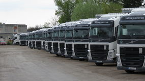 Perspective of trucks for industrial transport Royalty Free Stock Photo