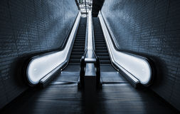 Perspective of two empty escalators Stock Photography