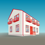 Perspective two-storey  building. Vector perspective two-storey white and red building Stock Image