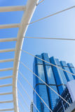 Perspective and underside angle view to glass building Royalty Free Stock Image