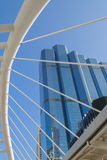 Perspective and underside angle view to glass building Royalty Free Stock Photography