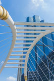 Perspective and underside angle view to glass building Royalty Free Stock Images