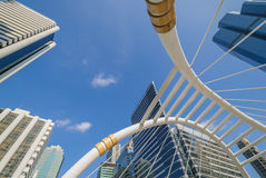 Perspective and underside angle view to glass building Royalty Free Stock Photos