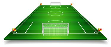 Perspective vector illustration of football field, soccer field. Vector EPS 10. Room for copy.  Royalty Free Stock Photo