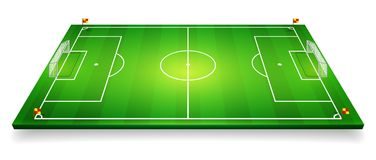 Perspective vector illustration of football field, soccer field. Vector EPS 10. Room for copy.  Stock Photos
