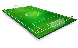 Perspective vector illustration of football field, soccer field. Vector EPS 10. Room for copy.  Royalty Free Stock Images