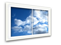 Perspective View. Window view in perspective to blue sky with white clouds Royalty Free Stock Photography