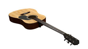Perspective view of an acoustic guitar from the top Royalty Free Stock Photo