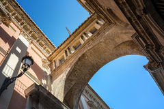 Perspective view of an ancient arch between Cathedral and Basilica Desamparados. Valencia, Spain Royalty Free Stock Image