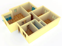 Perspective view of apartment with walls Stock Photos
