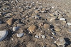 Perspective view of the beach floor on a sunny day. Marine pebble and shells as a natural background; Perspective view of the beach floor on a sunny day royalty free stock photography