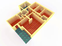 Perspective view of big apartment with walls Royalty Free Stock Image