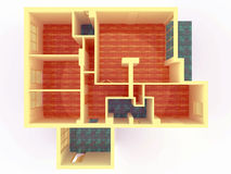 Perspective view of big apartment with walls from Stock Photo
