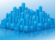 Perspective view of blue business office buildings. Illustration of business office buildings in perspective view on blue background Stock Image