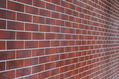 Perspective view of a brick wall as a background or a backdrop.  Stock Photos