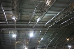 Perspective view of ceiling Of indoor sport court Royalty Free Stock Image
