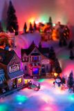 Perspective view of Christmas times in fairy tale town of elf mi. Aerial high perspective view of Christmas times in fairy tale town of elf miniature figurines royalty free stock images
