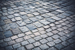 Perspective view of cobblestone pavement Royalty Free Stock Photo