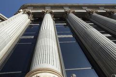 Perspective view of columns from below Stock Photos