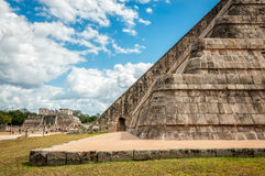 Perspective view detail at Chichen Itza, Mexico Stock Images