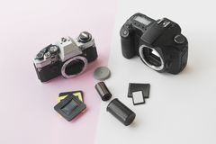 Perspective View of Digital vs. Analog SLR Camera Concept royalty free stock photography
