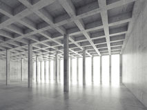 Perspective view of empty concrete room, 3d. Abstract architecture background, perspective view of empty concrete room, 3d illustration Stock Image