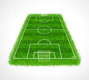 Perspective view of an empty soccer field with realistic grass texture, Vector & illustration Stock Photography