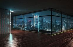 Perspective view of empty wood floor and cement ceiling interior. With city skyline view . Mixed media royalty free stock photo