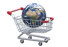 Perspective view globe and shopping cart with clipping path. 3D render isolated on white background Stock Photography