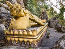 Golden Sleeping Buddha - Mount Phou Si, Luang Prabang Royalty Free Stock Photo