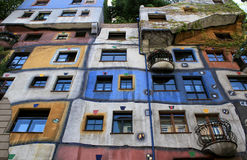 Perspective view of Hundertwasser house in Vienna Stock Photos