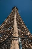 Perspective view of the iron structure from the top of Eiffel Tower with sunshine in Paris. Stock Images