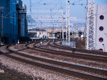 Perspective view on many railway track lines Royalty Free Stock Image